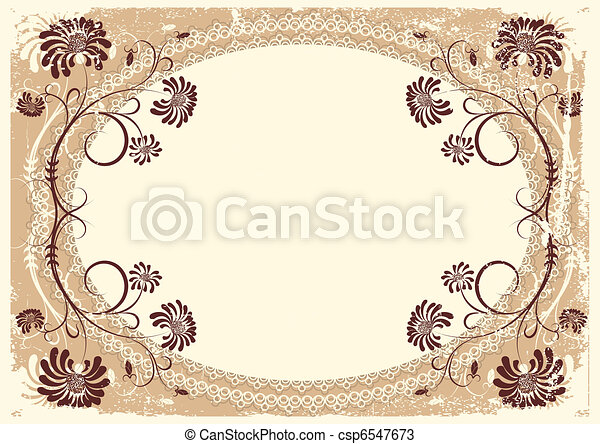 Vector vintage floral background with old decor frame for text - csp6547673