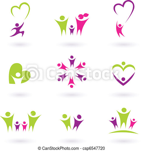 Family, relationship and people icon collection ( green, pink, p - csp6547720