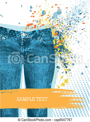 Jeans background.Vector gunge denim - csp6547767