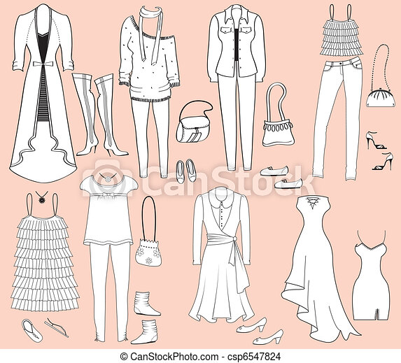 Vector fashion clothes and accessories for weman for design - csp6547824