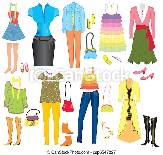 Vector fashion clothes and accessories for weman for design - csp6547827