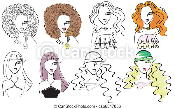 young fashion women .Vector portraits - csp6547856