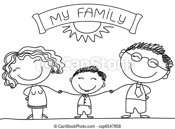 Family on white.Vector happy parents and son - csp6547858