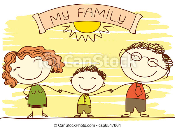 Family on white.Vector happy parents and text. - csp6547864