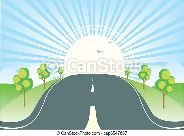 Summer landscape with road.Vector nature sunny horizon - csp6547867