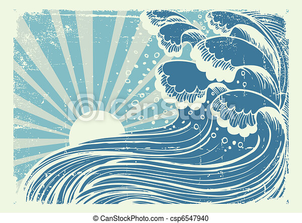 Storm in blue sea.Vectorgrunge image of big waves in sun day - csp6547940
