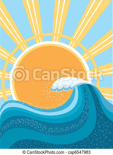 Wave in ocean.Water background for surfing with sun.Mesh - csp6547983