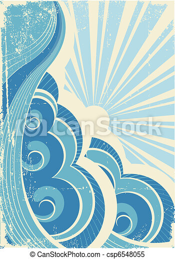 Vintage sea waves and sun. Vector illustration of sea landscape - csp6548055