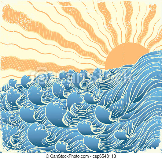 Sea waves. Vectorgrunge illustration of sea landscape with sun - csp6548113