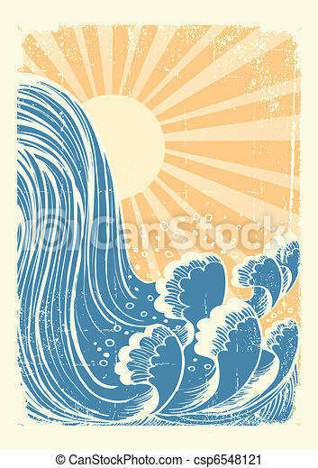 Waterfall.Vector grunge blue water waves background with sun - csp6548121