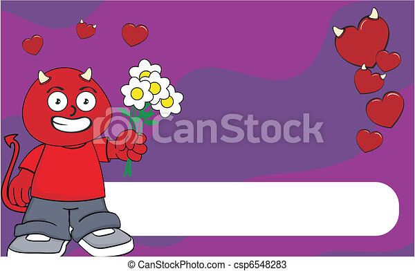 demon kid cartoon background2 - csp6548283