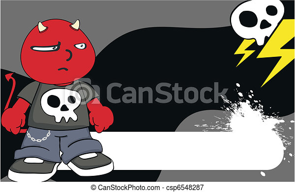 demon kid cartoon background6 - csp6548287