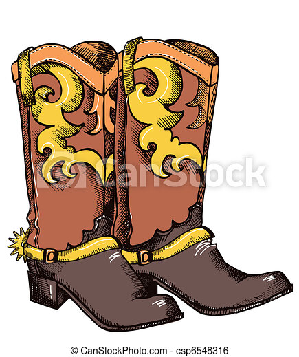 Cowboy boots .Vector graphic image - csp6548316