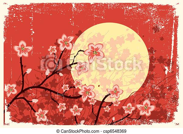 Flowing Sakura tree.Grunge image - csp6548369