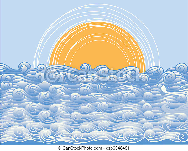 Abstract sea waves. Vector illustration of sea landscape - csp6548431