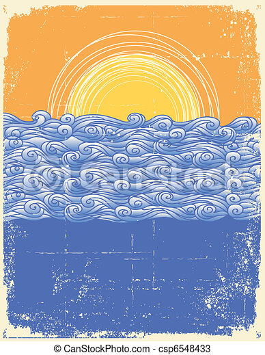 Abstract sea waves. Vector illustration of sea landscape.Grunge image - csp6548433