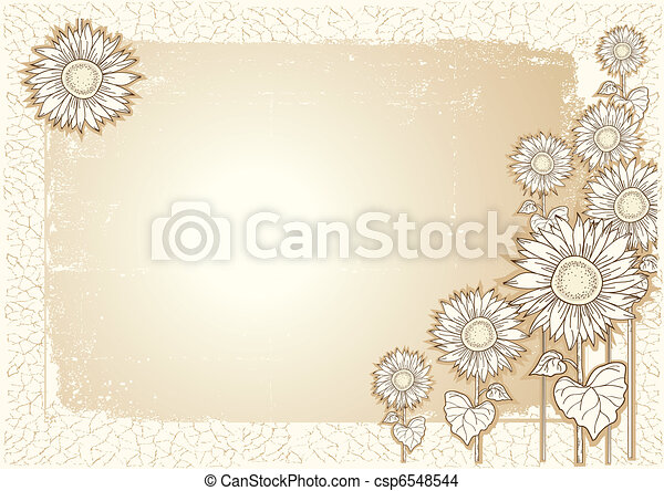 Sunflower .Vector vintage postcard with grunge elements - csp6548544