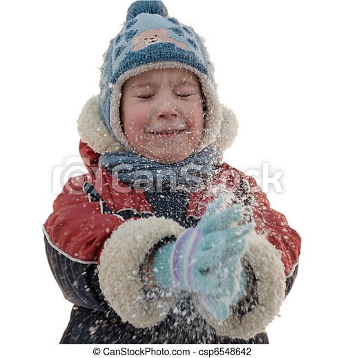 The boy and snowflakes