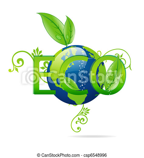 eco green and clear blue earth symbol  - csp6548996