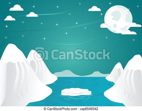 vector illustration of artic iceberg landscape artic ocean border clipart free ocean background clipart free