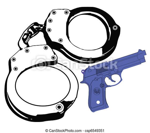 hand cuffs gun and violence - csp6549351