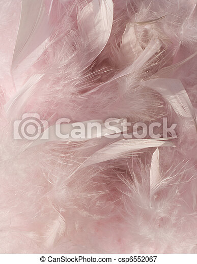 Fluffy pink feather background with corner - csp6552067