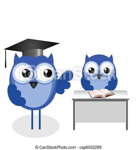 Owl teacher and pupil  - csp6552289