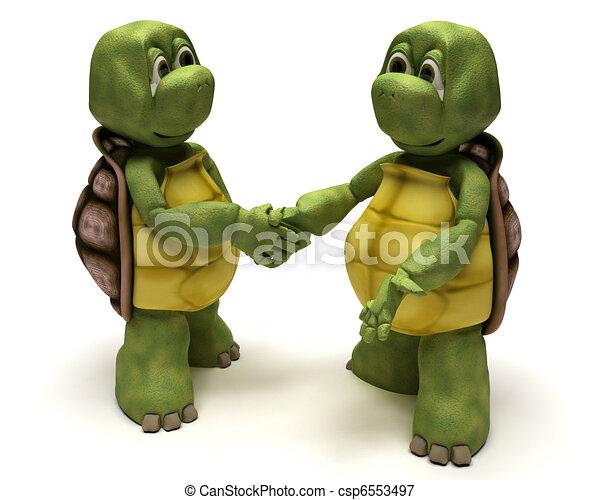 Tortoises shaking hands - csp6553497