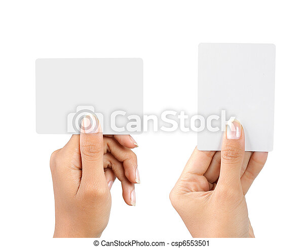 hand holding blank business card - csp6553501