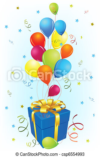 Birthday Card with Gift and Balloon - csp6554993
