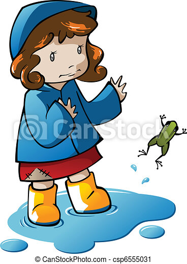 Girl Playing in Puddle - csp6555031