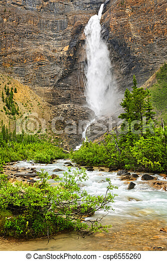Takakkaw Falls waterfall in Yoho National Park, Canada - csp6555260