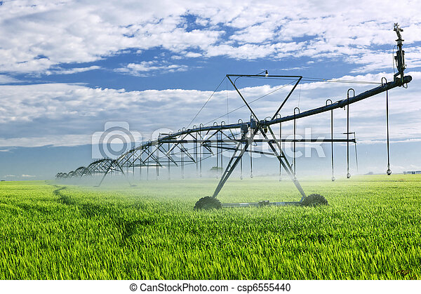 Irrigation equipment on farm field - csp6555440