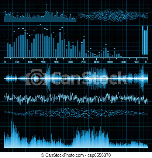 Sound waves set. Music background. EPS 8 - csp6556370