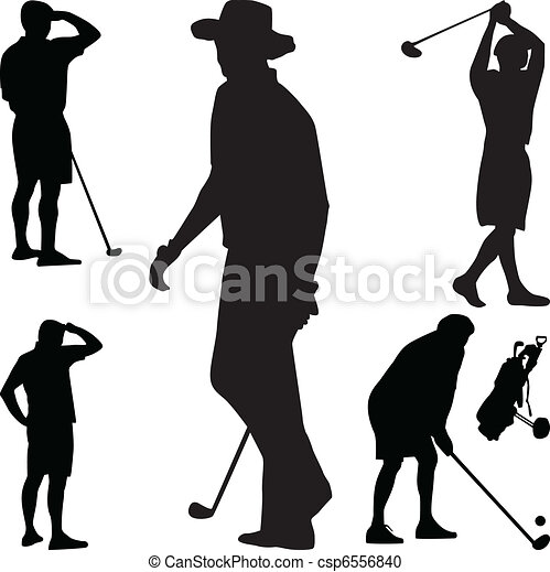 Golf player silhouette vector - csp6556840