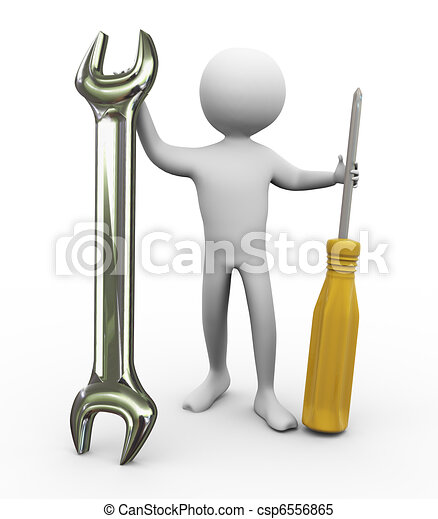 3d man with repairing tools - csp6556865