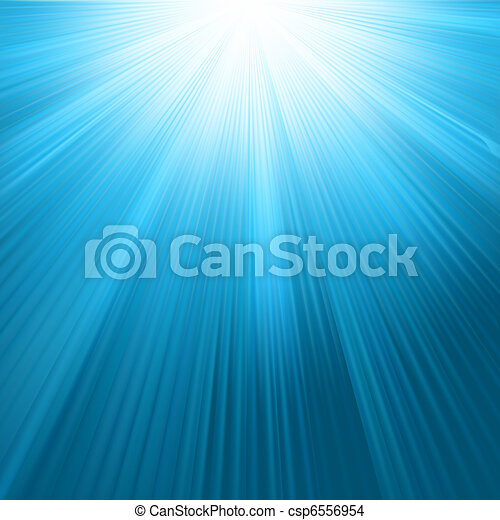 Sun rays on blue sky template. EPS 8 - csp6556954