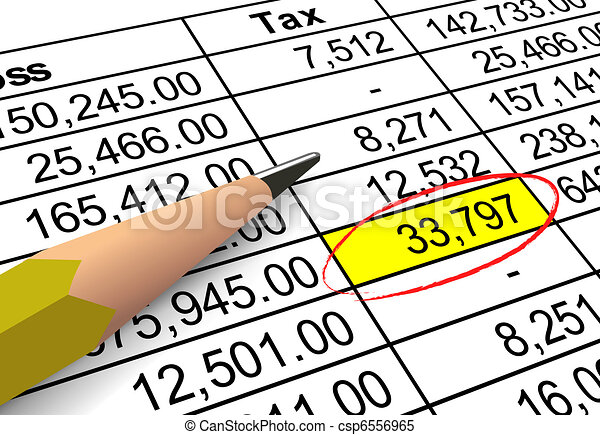 Pointing out tax deduction amount - csp6556965