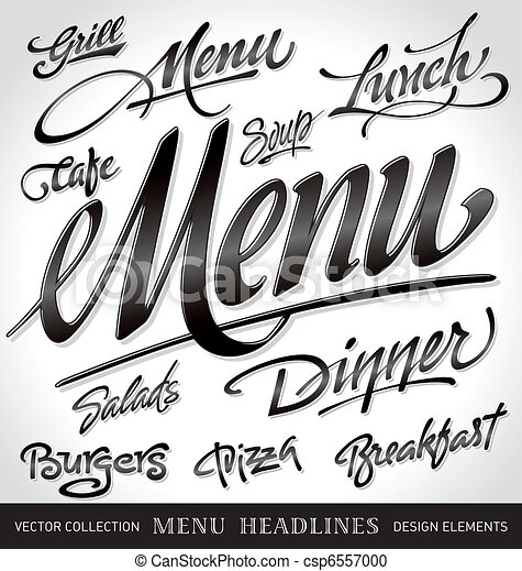 menu headlines set (vector) - csp6557000