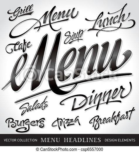 menu headlines set (vector) - csp6557000