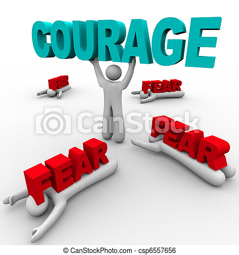 One Person with Courage Has Success, Others Afraid Fail - csp6557656