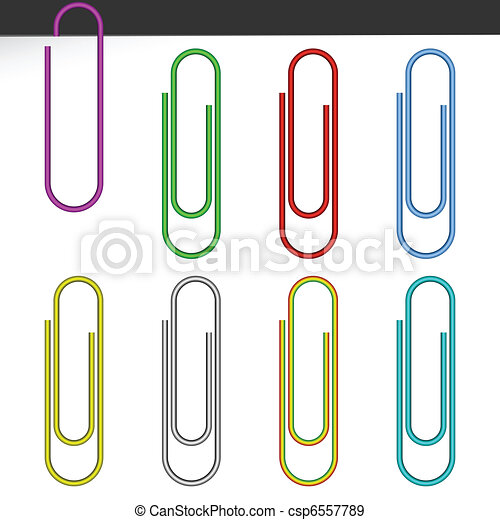 Colored paper clips. - csp6557789