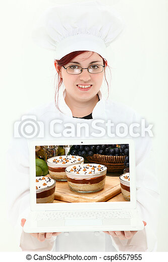Culinary Student with Laptop - csp6557955
