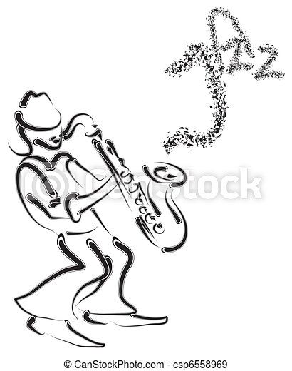 vector stylized saxophone and musician - csp6558969