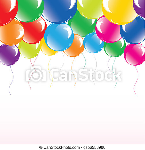 vector illustration of festive colorful balloons - csp6558980