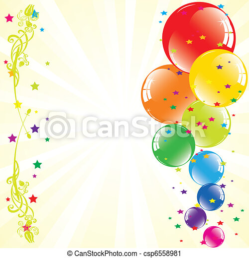 vector festive balloons and light-burst with space for text - csp6558981