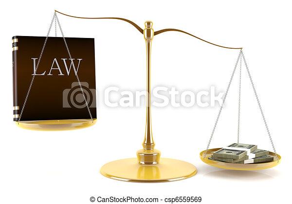 Balance between law and money - csp6559569