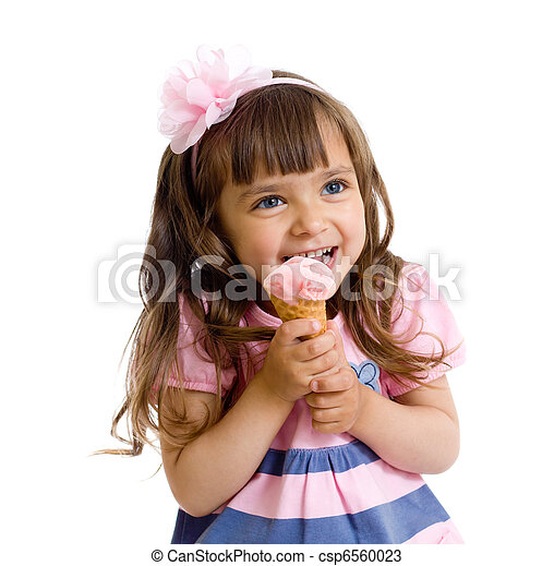 little girl with ice cream in studio isolated - csp6560023