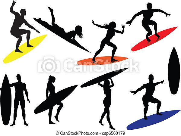 Surfing Silhouettes  - csp6560179