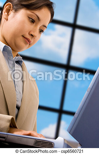Asian Business Woman Using A Laptop Computer - csp6560721